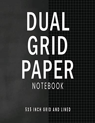 Dual Grid Paper Notebook: Chalkboard Black Composition Notebook with Alternating 5 x 5 Inch Graph Ruled and Lined Pages