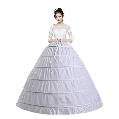 Dayday UP Women 6 Hoop Crinoline Petticoats Slips Skirt Floor Length Underskirt for Ball Gown Bridal Wedding Dress White