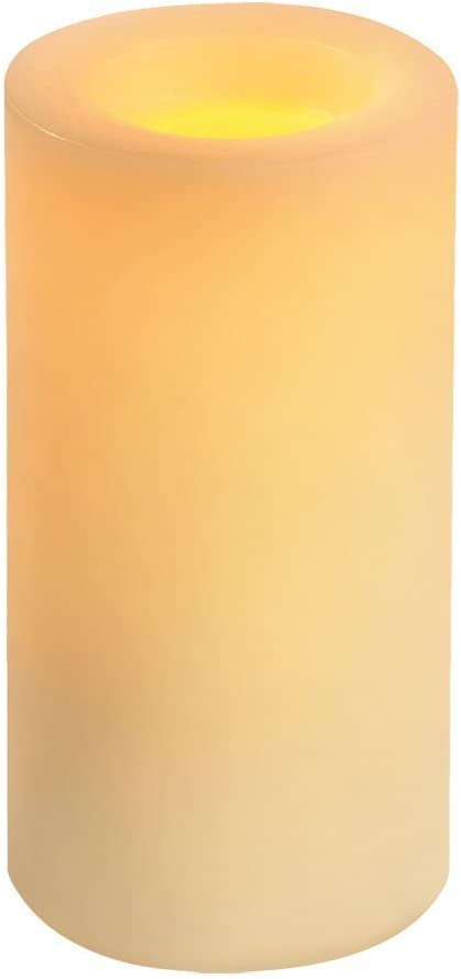 Inglow Flameless Candle Round Vanilla-Scented Pillar with Timer, 8-inch tall, Cream (CGT54800CR01)