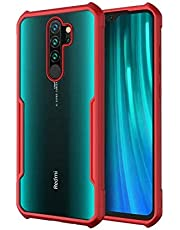 Armor Soft Shockproof Silicone Bumper Back Cover For Xiaomi Redmi Note 8 Pro - Clear & Red