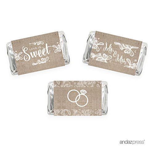 Andaz Press Burlap Lace Wedding Collection, Chocolate Minis Labels, Fits Hershey's Miniatures Party Favors, 36-pack