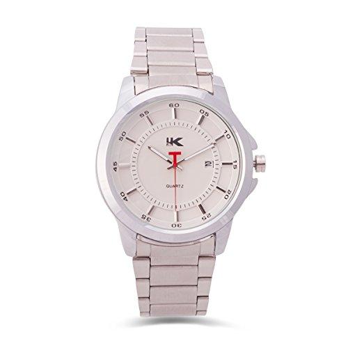 Yaki Elegante Herren Armbanduhr Analog Quarz Geschäfts Uhr Weißes Ziffernblatt mit Datumsanzeige Stahlband