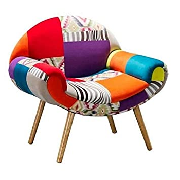 MATHI DESIGN Silla con Diseño Patchwork Hippie Multicolor ...