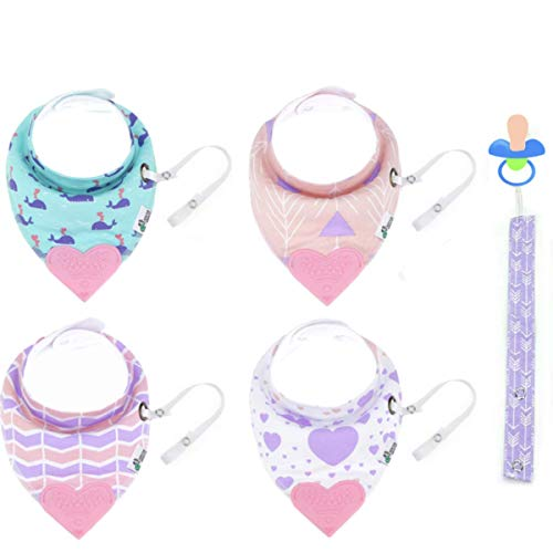 Drooling Infant Teether Tickles&Wiggles Organic Baby Bandana Bibs for Teething Pacifier/Toy Tether Adjustable Snaps