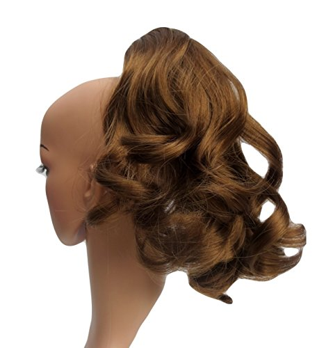Sweet Short Curly Pony Tail Hair Extension, (Claw Grip) (06 Dark Caramel Brown) Synthetic ()