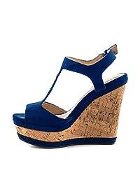 YDN Women Wedge Heels Platform Shoes Sandals High Peep Toe Strappy