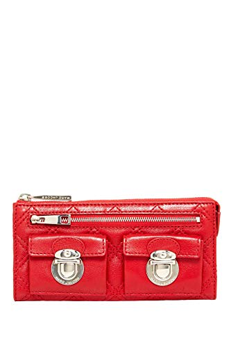 Marc Jacobs Quilted Leather Zip Clutch (Red)