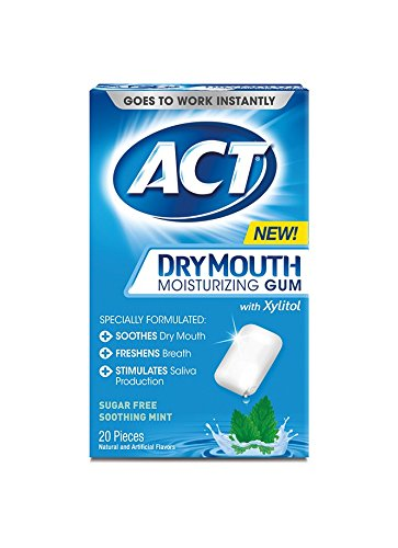 ACT Dry Mouth Moisturizing Gum With Xylitol, 20 Count
