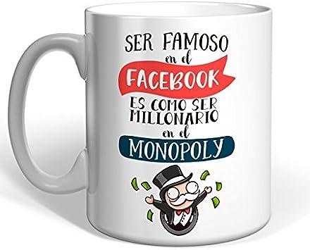 Taza Missborderlike -Ser famoso en el Facebook es como ser millonario en el Monopoly: Amazon.es: Hogar