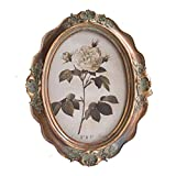 CISOO Vintage Oval Picture Frame 5x7 Table Top Display Wall Mounting Antique Photo Frame Home Decor (Bronze)