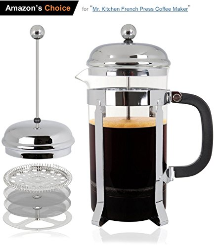 Mr Kitchen All-in-1 French Press, Coffee Press, Coffee Maker & Tea Maker w/32 Oz 4 Cup Carafe-Perfect Cup of Coffee Every Time-QUALITY Stainless Steel Structure