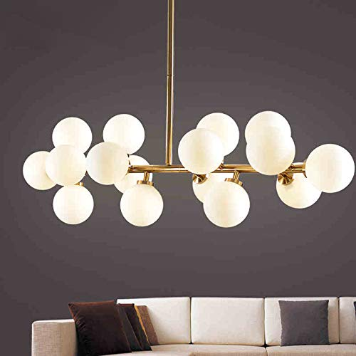 Fandian Post-Modern Chandelier 16 Round Glasses LED Ceiling Light Pendant, DNA Shape with G4 LED Bulbs (Bronze Gold (4.7'' Lampshade)) by Fandian (Image #5)