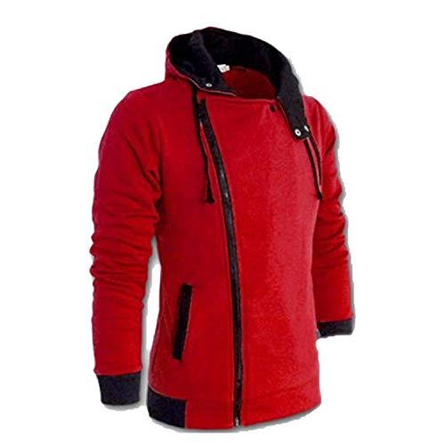 2019 Casual Cardigan Men Hoodie Sweatshirt Long Sleeved Slim Fit Male Zipper Hoodies Assassins Creed Jacket Plus Size M-6XL,XX-Large,Red ()