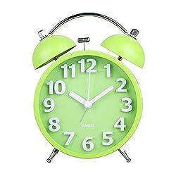 HENSE 4 Smart Nightlight Twin Bell Alarm Clock, Silent Non-ticking Quartz Analog Retro Vintage Nightstand Alarm Clock with Loud Alarm for Heavy Sleeper HA05 (Green)