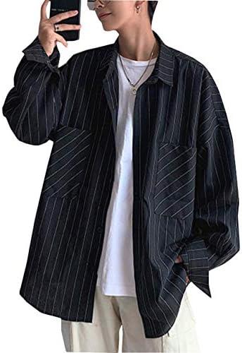 長袖シャツ メンズ ストライプ柄 ゆったり ワイシャツ 無地 おしゃれ 開襟シャツ カジュアル ポケット ビック シルエット トップス 秋 春 通勤 通学 白 黒
