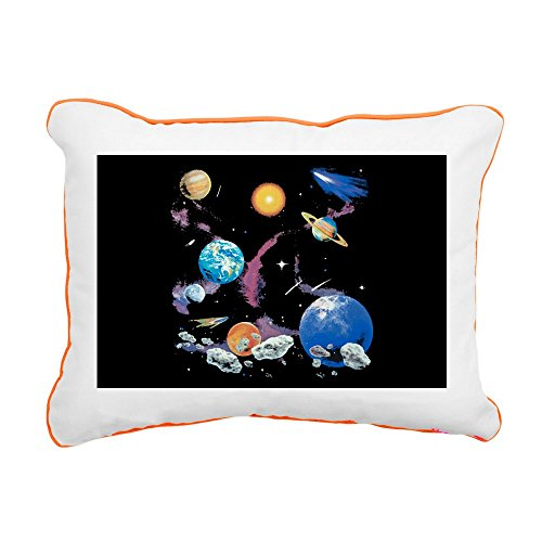 Rectangular Canvas Throw Pillow Orange Solar System And Asteroids by Royal Lion
