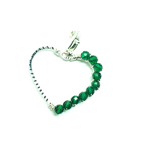Emerald Heart Jewelry Gemstone Necklace Pendant May Birthstone 20th and 35th Wedding Anniversary