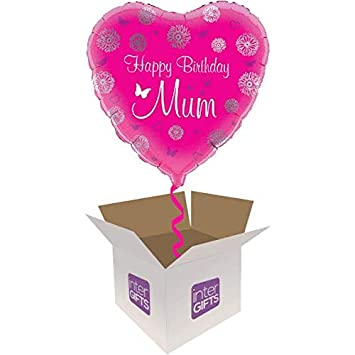 InterBalloon Helium Inflated Happy Birthday Mum Pink Butterflies Balloon Delivered In A Box