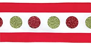 """Pack of 4 Red and Green Sparkling Polka Dot Wired Christmas Ribbon 4"""" x 40 Yards"""