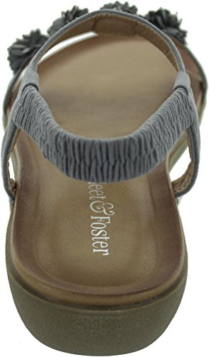 Fleet & Foster Matira Womens Wedge Sandals Grey - Grey - UK Size 8 1iPwv