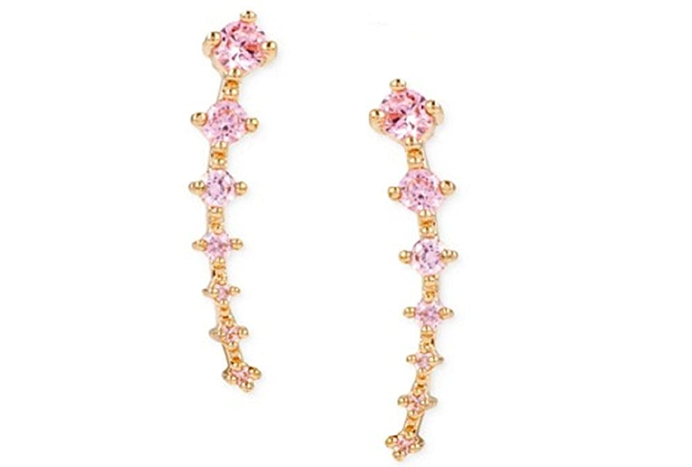 Ear Crawlers Seven PINK Crystals Plated Curved Vine Bar Earrings 14k Yellow Gold Plated Climber