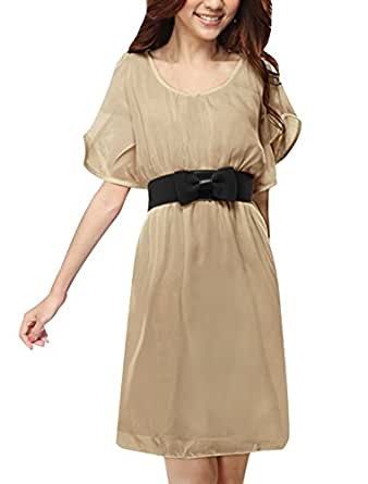 Allegra K Women Butterfly Sleeves Belted Above Knee Chiffon Dress XS Beige