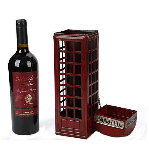 DCRYWRX Wrought Iron Wine Rack, Metal Retro Wine Rack, Creative Telephone Booth Wine Rack Suitable for Home Restaurant Desktop Bar Photography Props Crafts