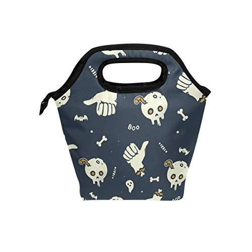 (AGONA Vector Halloween Insulated Lunch Bag Tote Handbag, Reusable Outdoor Travel Picnic School Lunchbox Container Cooler Warm Lunch Bags for Work Office Women Men Kids Girls Boys)