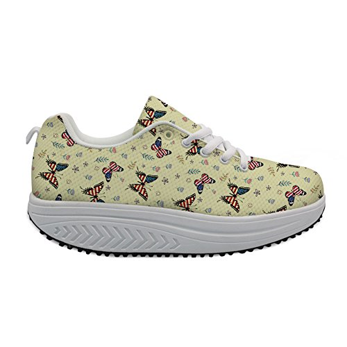 U Height for Ladies Shoes Printed Swing Animal US DESIGNS Shoes Platform Increasing Flats Women Casual Butterfly FOR Flag E1dq6wE
