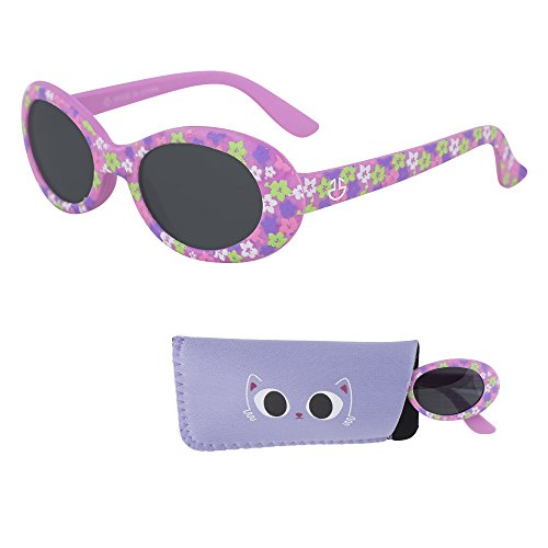 Sunglasses for Babies – Smoked Lenses - Reduces Glare, 100% UV Protection for Infants and Toddlers Ages 1 Month to 3 Years - Purple Rubber Injected Frame - Matching Pouch - Best Selection Sunglasses