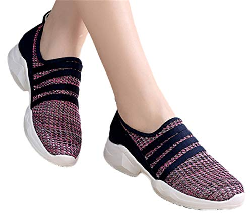Slip On Mesh Shoes Women Summer Sports Running Sneaker Shoes Breathable Shoes Loafers by Gyouanime Purple