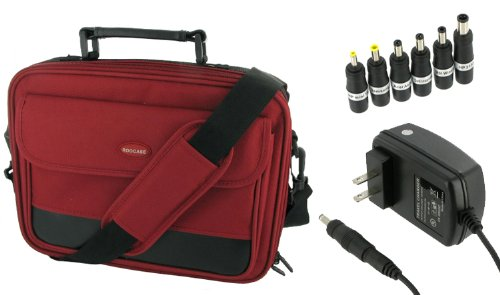 rooCase 2n1 Combo - Packard Bell 11.6-Inch Dot M Netbook Carrying Bag Case and AC Adapter Wall Charger - Red / Black Classic Series