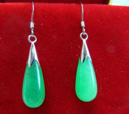 New Pair Green Jade 925 Sterling Silver Hook Teardrop Dangle Earrings ()