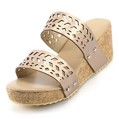 Fitfulvan Women Summer Wedges Shoes Retro Peep Toe Slipper Hollow Carved Slipper Waterproof Platform Sandals Gold