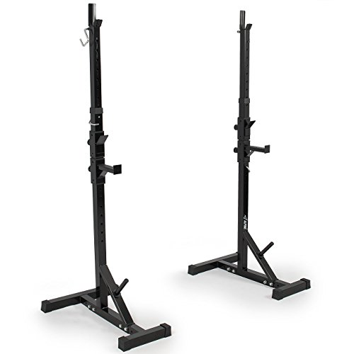Akonza Pair of Adjustable Standard Solid Steel Power Squat Stands Barbell Free Press Bench -Black