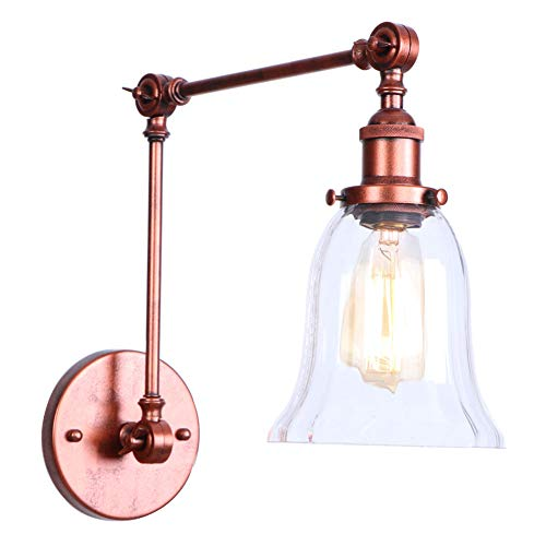 Bronze Double Arm Sconce - LED Vintage Wall Light Lamp Plating Bronze Glass Double Festival Long Arm Adjustable Indoor Lighting Sconce Shade,4