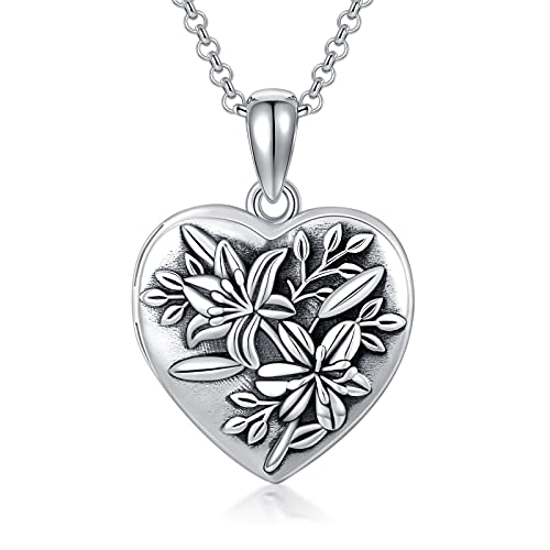 Silver Heart Locket Necklace for Women, S925 Lily Flower Locket Necklace That Holds Pictures Personalised Photo Necklace Jewelry Gifts for Girls 18+2