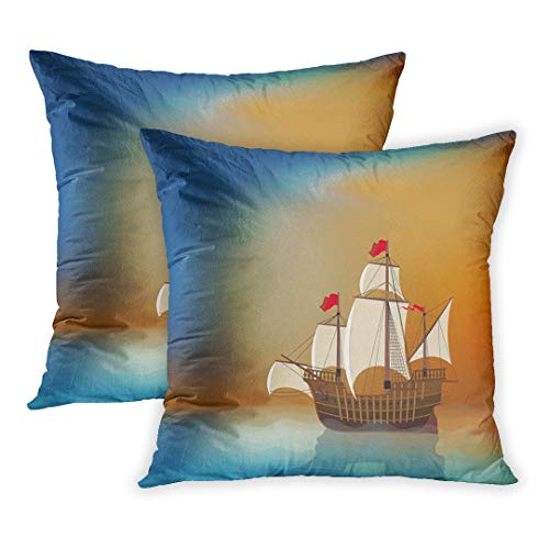 - Emvency Throw Pillow Cover Pack of 2, Blue Pirate Old Sailing Ship in The Sea at Sunset Blank Place Boat Sail Wooden Wood Schooner Home Decor Square Size 20 x 20 Inches Cushion Pillowcase