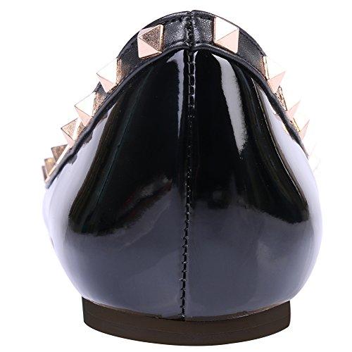 Monicoco schwarze Lackleder Seite Mujer Bailarinas Schwarz UqxpwrUv