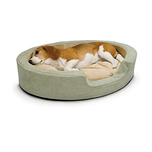 Thermo Snuggly Sleeper Oval Medium Sage 26 x 20 x 5 (2 Pack) by K&H Manufacturing ()