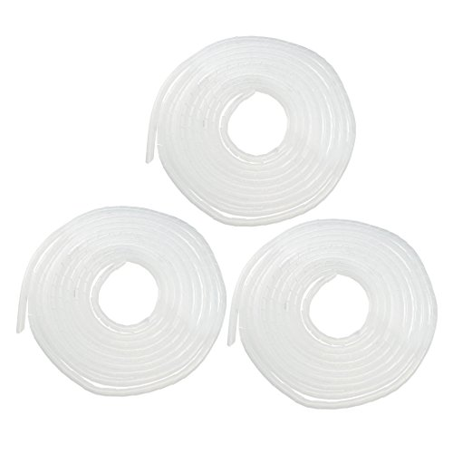 uxcell 3pcs 12mm Flexible Spiral Tube Cable Wire Wrap Computer Manage Cord White 5.5-8M 18' Polyethylene Sleeve