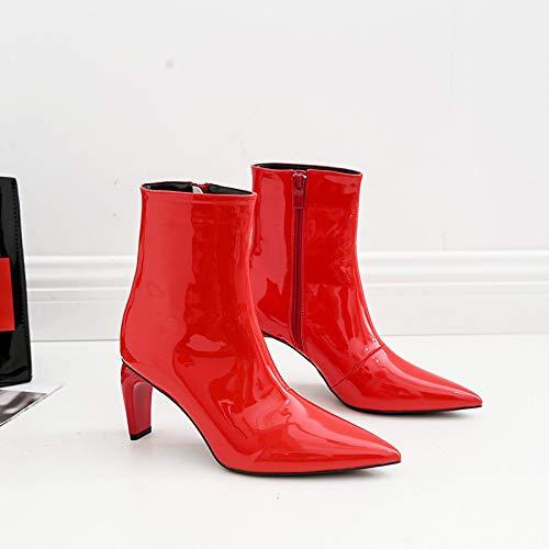 Temperamento Alto Zapatos Charol Otoño Mujer Botines Rojos Fino Hoesczs Con Red Señaló Tacón Mujeres Personalidad Invierno Women's Boda Botas E De qWzzan87p