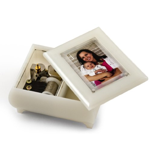 3'' X 2'' Wallet Size Pearl Photo Frame Music Box With New Pop - Over 400 Song Choices - Out Lens System English Country Garden by MusicBoxAttic (Image #2)