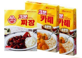 Three Minute Instant Food Combo:Mild Curry(2) + Black Bean Sauce(4) + CJ Cooked White Rice(6)