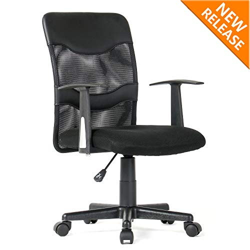 YAMASORO Home Office Chair Desk Ergonomic Computer Executive Modern Student Task Adjustable Swivel Wide Comfortable Mesh Chair with Arms Lumbar Support for Man Women, Black