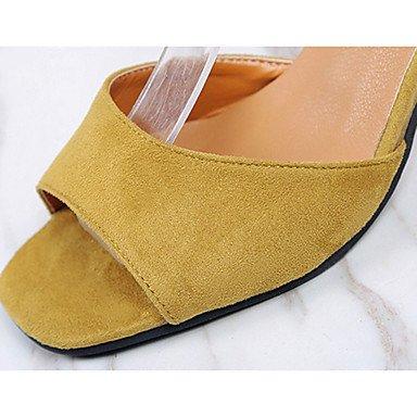 LvYuan Mujer Sandalias PU Verano Paseo Perla Tacón Stiletto Negro Gris Amarillo 5 - 7 cms Yellow