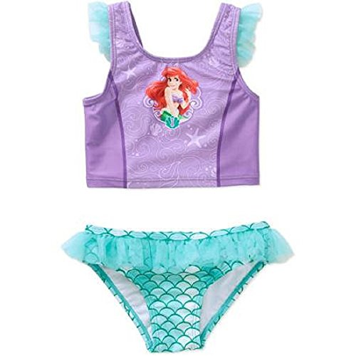 Disney Little Mermaid Ariel Toddler Girl Tankini Ruffled Swimsuit 2t-5t (2t)