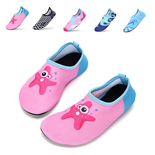 Girls Boys Water Shoes Lightweight Quick-Dry Barefoot Aqua Socks Shoes For Lawn Pool Dance (5-5.5 M US Toddler= 20-21 EU, Haixing Pink)