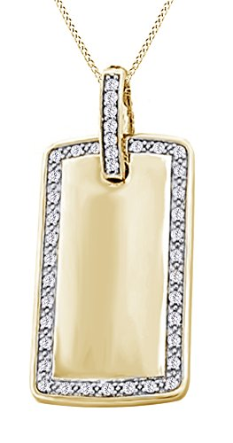 Round Cut White Natural Diamond Dog Tag Hip Hop Pendant in 14k Yellow Gold (1.10 Cttw) by AFFY