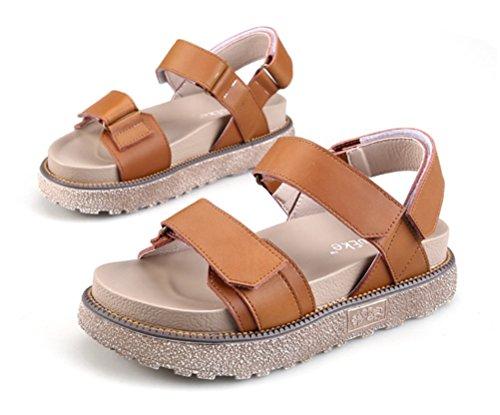 Plano Abierta Mujer Sandalias Brown Punta Correa Casual Playa Verano Shoes Comodidad Tobillo Hn Zapatos nIxqgSTT